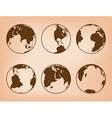 brown globes with continents - set of Earth vector image vector image