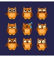 Brown Owl Emoji Collection vector image vector image