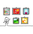 cartoon characters - businessman in museum vector image