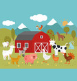 cartoon farm goat cat and pig goose and chicken vector image vector image