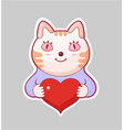 cartoon style love sticker vector image