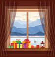 christmas gifts on window in cozy home vector image