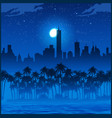 city and palm trees at night vector image vector image
