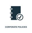 corporate policies icon monochrome style design vector image vector image