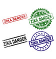 damaged textured zika danger seal stamps vector image vector image