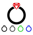 diamond ring flat icon vector image vector image