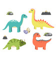 dinosaurs collection and icons vector image