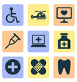 drug icons set with tooth helicopter computer vector image vector image