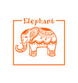 elephant in ethnic style orange frame image vector image vector image