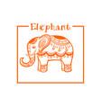 elephant in ethnic style orange frame image vector image