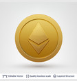 ethereum symbol on round coin with drop shadow vector image