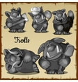 Figurines scary funny trolls in a variety of roles vector image vector image