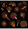 fireworks and sparkling firecrackers for holidays vector image
