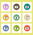 flat icons set of business pie chart in folder and vector image vector image