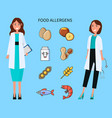 food allergens doctors with causing icons set vector image vector image