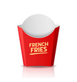 french fries packaging red box template design vector image