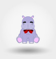 hippo bawith red bow icon vector image