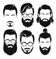 hipsters men faces collection vector image