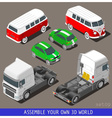 Isometric Flat 3d Vehicle Set at Car Park vector image vector image