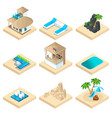 isometry set of recreation on the beach in a warm vector image