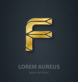 Letter F elegant gold font Template for company vector image