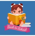 little girl with school books and notebooks vector image vector image