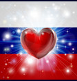love russia flag heart background vector image vector image