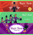 magic show banner set with cartoon magician man in vector image