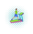 Man running on a treadmil icon comics style vector image vector image