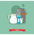 milk jug can and carton glass with splash vector image vector image