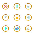 morning cleaning icons set cartoon style vector image vector image