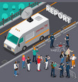 reportage from murder scene isometric vector image vector image