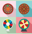 roulette wheel fortune icons set flat style vector image