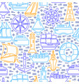 sea seamless pattern with ship icons in line style vector image vector image