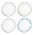 Set of empty white plate vector image vector image