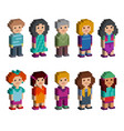 set of funny pixel art style isometric characters vector image