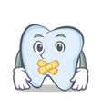silent tooth character cartoon style vector image vector image