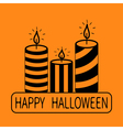 Striped candle set Happy Halloween text Greeting vector image vector image