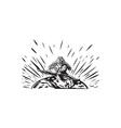 tagaloa releasing bird plover earth woodcut vector image vector image