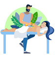the process massage girl on couch in vector image