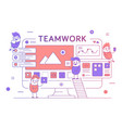 thin line teamwork poster banner template vector image