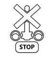traffic light stop railway icon outline style vector image vector image