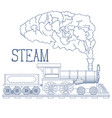 vintage steam train engrave vector image vector image