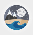 waves sandy beach sea mountains and full vector image