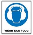 wear earmuffs or ear plugs vector image vector image