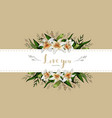 wedding invitation card floral lily bouquet and vector image