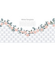 white geometric template with flowers vector image vector image