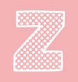 Z alphabet letter with white polka dots on pink vector image vector image