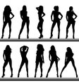 Set of girl silhouettes vector image
