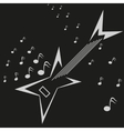 Electric guitar and music notes logo template vector image